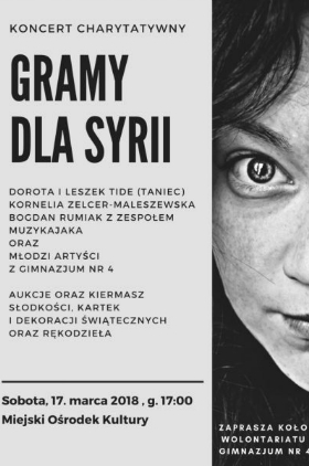 Gramy dla Syrii - koncert charytatywny  Kliknięcie w obrazek spowoduje wyświetlenie jego powiększenia