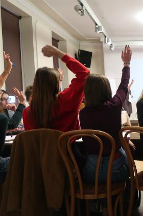 Warsztaty w ramach Miejskiego Turnieju Debat Oksfordzkich - Kulturalnie o Kulturze  Kliknięcie w obrazek spowoduje wyświetlenie jego powiększenia